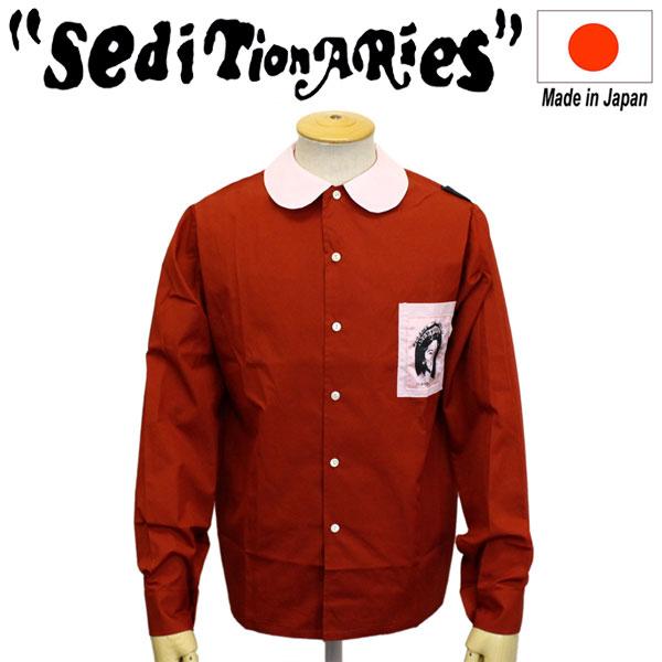 正規取扱店 SEDITIONARIES by 666 (セディショナリーズ) Patched Peter Pan shirt L/S パッチドピーターパンシャツ 長袖 レッド/ピンク STS0014