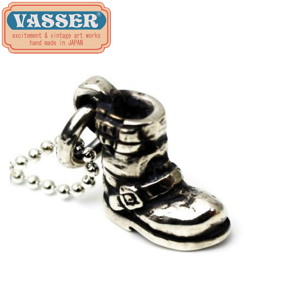 正規取扱店 VASSER(バッサー) Biker Boot Pendant Silver w/Ball Chain(バイカーブーツペンダントシルバー)