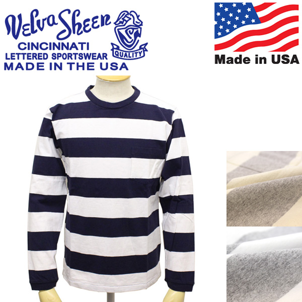 正規取扱店 Velva Sheen (ベルバシーン) 161738W Wide Border L/S T-shirt ワイドボーダー 長袖Tシャツ アメリカ製 VLVS011