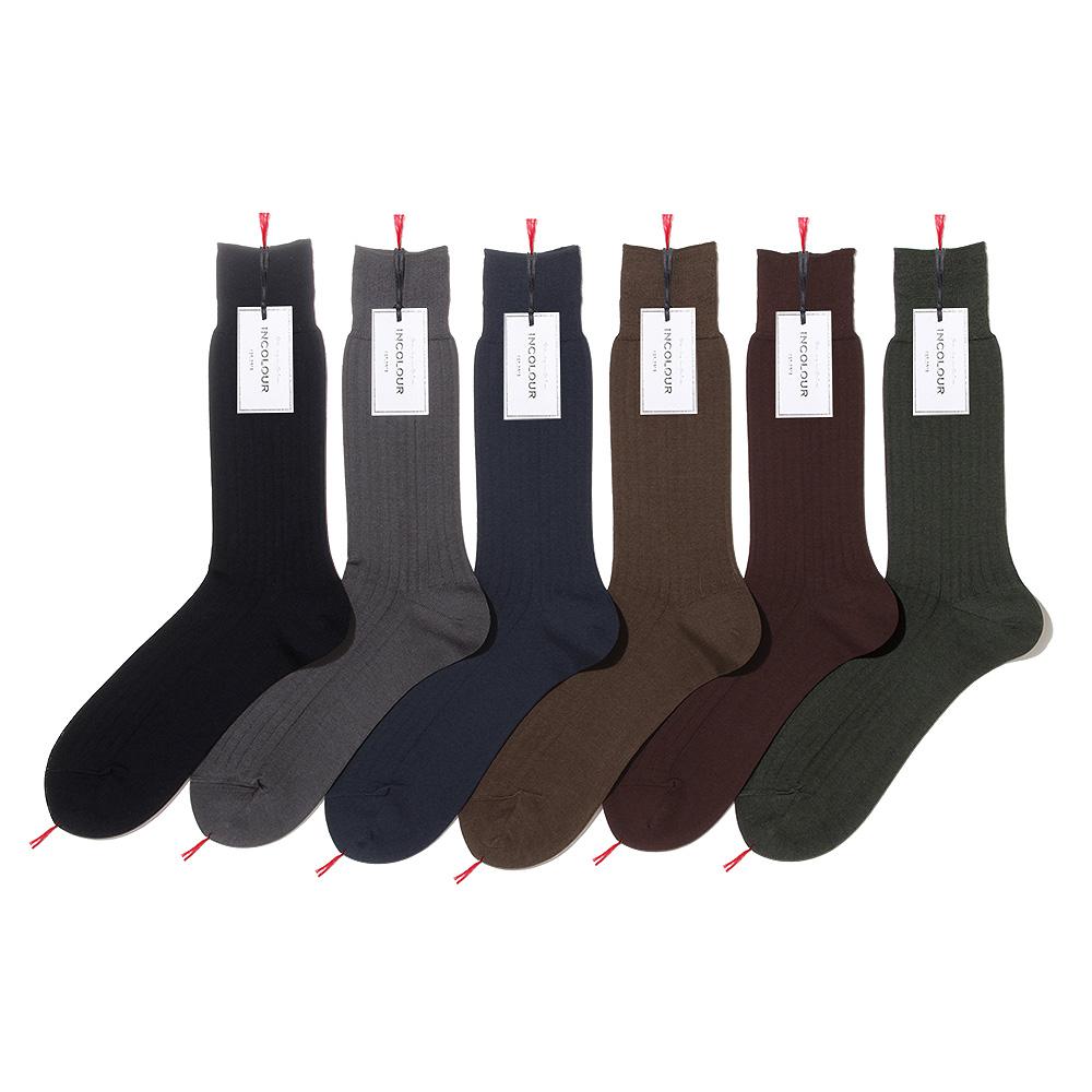 エレガントな色艶と風合い 穿き心地がこだわり インカラー 7×1リブソックス メンズ 靴下 本物◆ 上品 ソックス 送料無料 ラッピング無料 INCOLOUR エジプト綿