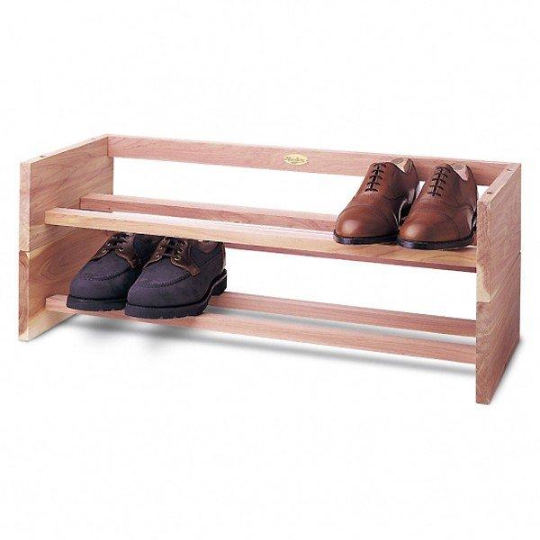 ウッドロア シダーシューラック2個セット(爽やかな天然木の香り。通気性が良く、靴の保管に最適。組み立て式シューズラック)