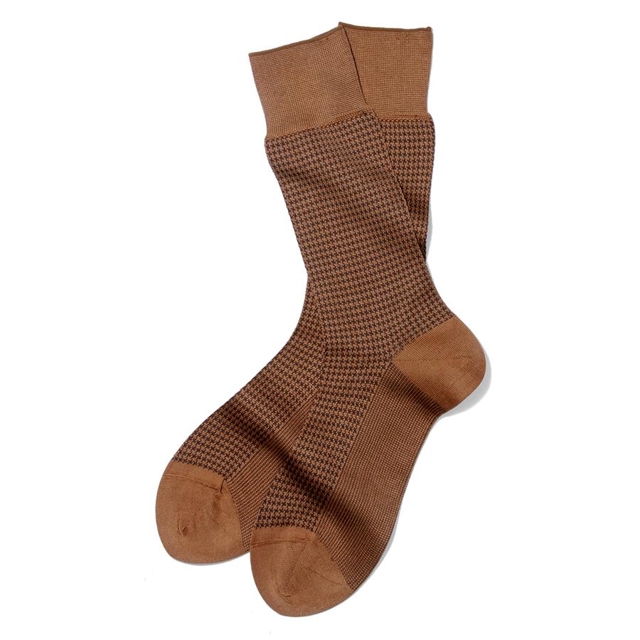 Made 半額 in 供え Japan の上質ソックス インカラー ハウンドトゥース ジャガード編みソックス 千鳥格子 靴下 ブラウン×ダークブラウン メンズソックス