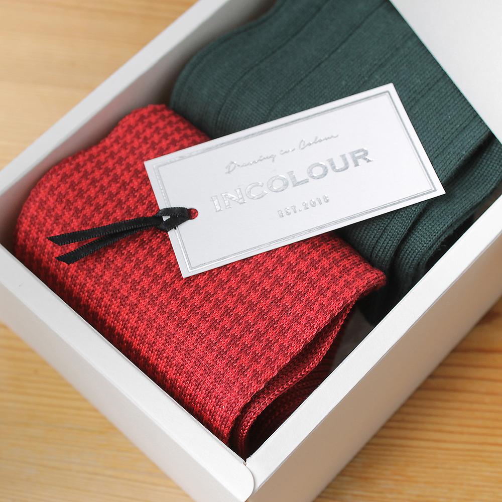 色も履き心地も上質 メンズ アウトレットセール 特集 ソックスギフト インカラー メンズソックス2足 ギフトボックス 靴下 新品 送料無料 プレゼント ハウンドトゥース ワイドリブ 男性 グリーンレッド