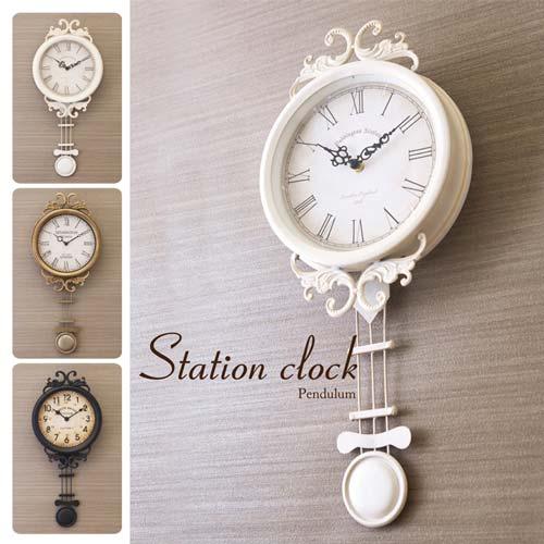 クラシカルなデザインがおしゃれな振り子時計 掛け時計 ステーションクロック ペンデュラム クラシカル アンティーク調 新作通販 いつでも送料無料 振り子時計 ブロンズ アイボリー マットブラック