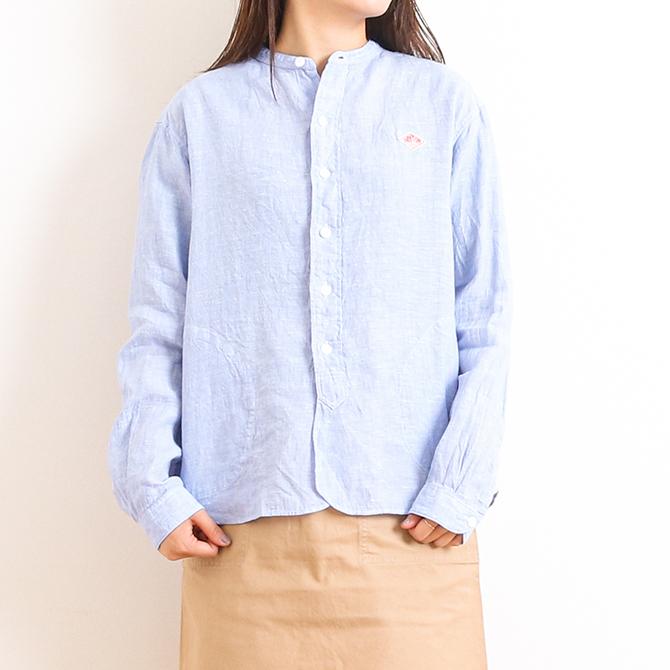 ダントン DANTONリネンクロスバンドカラーシャツ 長袖LINEN CLOTH BAND COLLAR L/S SHIRTJD-3606KLSレディース トップス