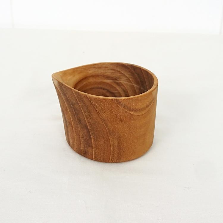 美品 木製 ミニカップ かわいい おしゃれ ミルクカップ J-165 BL2 J Furniture 木 カップ 注ぎ口付き ソース ウッド 牛乳 ディップ プレゼント お得セット