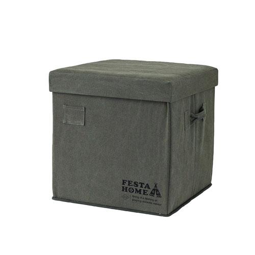 FESTA HOME ストレージチェア スクエア カーキ SFFL1723KH □□ PL15 SPICE スツール 収納ベンチ 収納ボックス 折りたたみ イス 衣類収納 おもちゃ箱 おしゃれ プレゼント