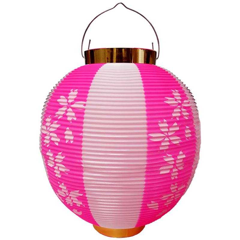 大幅にプライスダウン お祭り定番の提灯 10個以上~ T1H 尺丸 桜柄 ポリ製 ポリ提灯 ちょうちん Φ25.5×H27cm 未使用