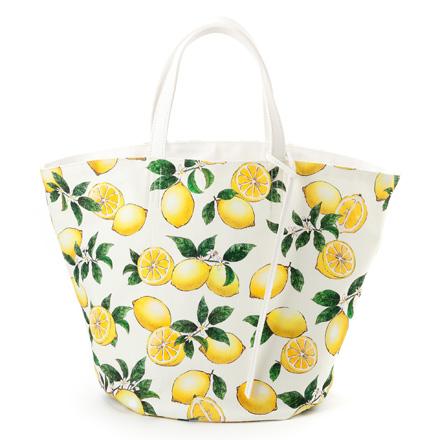 マルシェバッグ リバーシブル ラージサイズ シトラスレモン レモン柄 代引き不可 ボタニカル柄 マザーズ おしゃれ フルーツ柄 北欧 バッグ 毎日がバーゲンセール 北欧デザイン