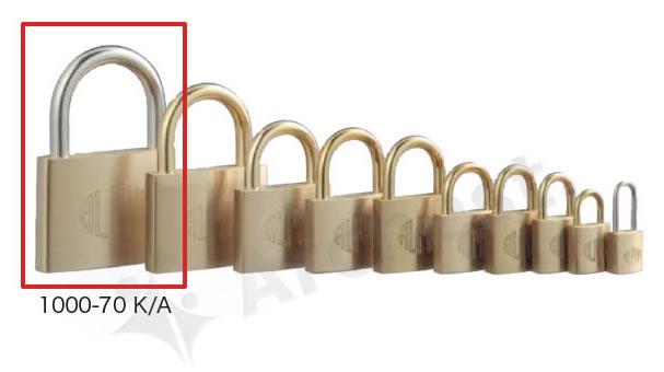 《 セット販売:3個 》真鍮製南京錠 定番の1000シリーズ [1000-70 K A(同一キー)] - アルファ