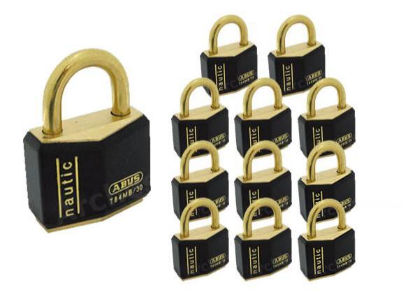 《 セット販売:12個 》樹脂カバー付き 真鍮南京錠 T84MBシリーズ [T84MB 30] - アバス(ABUS)