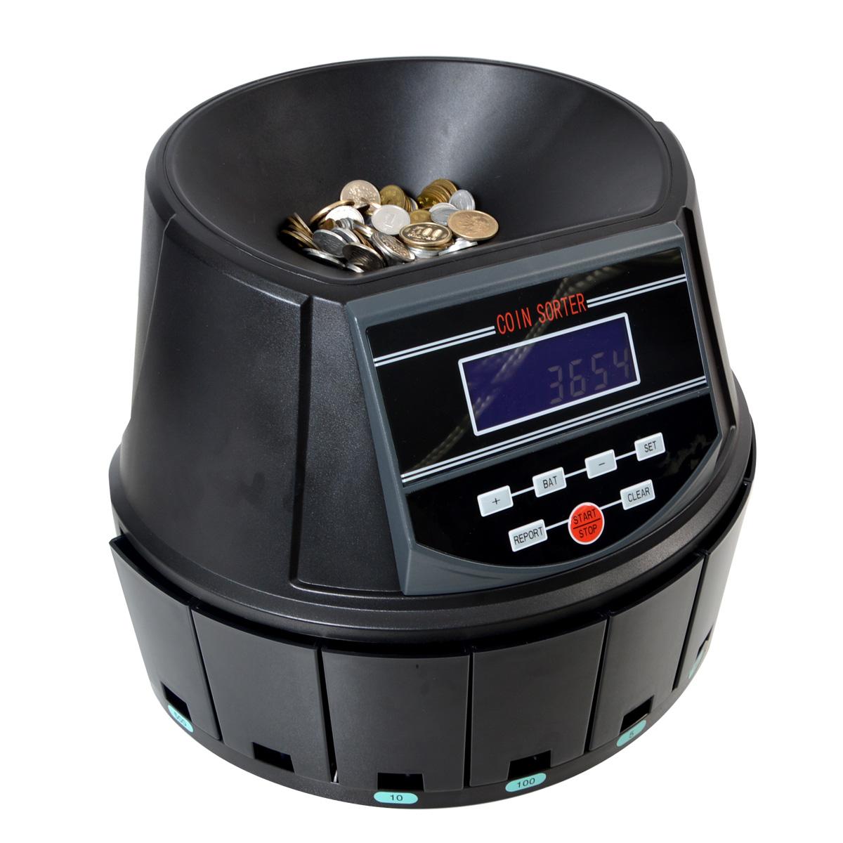 【送料無料】小銭の計算はお任せください!電動オートコインカウンター[CNCT82BT]-サンコー 自動 硬貨計算機 硬貨カウンター 小銭