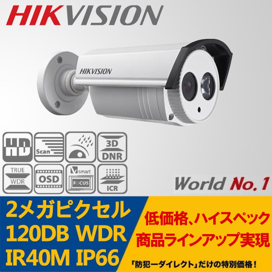 HIKVISION(ハイクビジョン)防犯カメラ 屋外 TVI フルハイビジョン1080p 120dB WDR 赤外線EXIR バレットカメラ DS-2CE16D5T-IT3