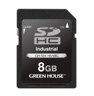 GH-SDI-NSAシリーズ 組み込み機器で幅広く使える工業用途SD / SDHCカード GH-SDI-NSA8G 8GB(SDHC)