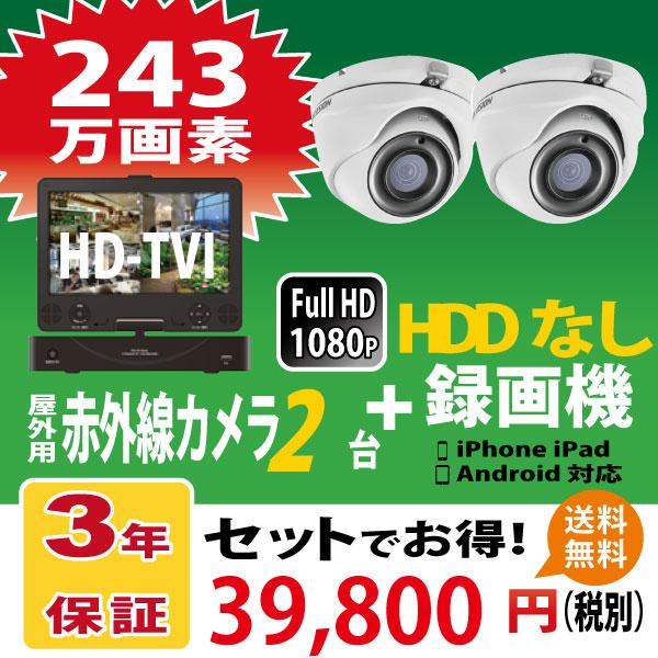 【TVI243万画素 防犯カメラセット ドーム型カメラ 2台 HDDなし】屋外・屋内対応モニタ一体型録画機セット HDDなし yg1080p4dvrm-2set-nonhdd-dome