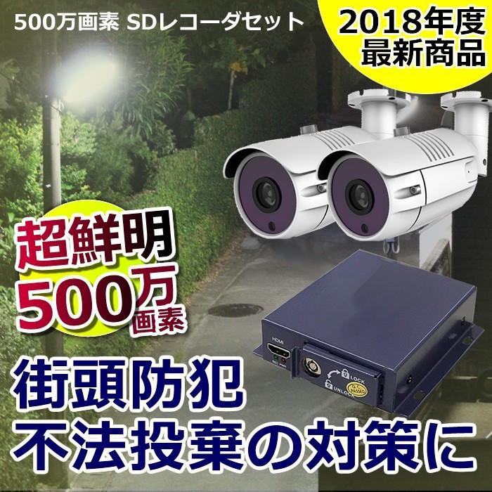 【送料無料】防犯カメラ 屋外 2台セット バレット SDカード録画 レコーダーセット