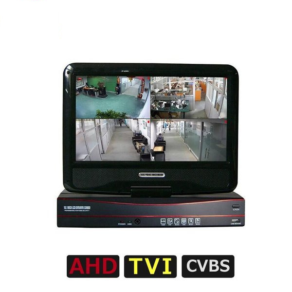 (送料無料)防犯カメラ 液晶モニター付 録画機 AHD/TVI/CVI/アナログ(CVBS) 10.1インチ DVR 1TBハードディスク搭載