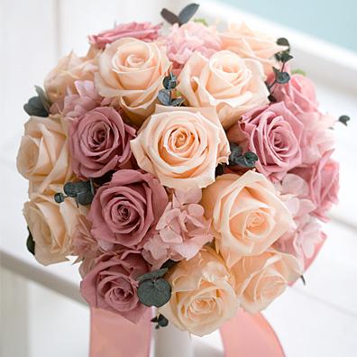 ピーチとピンクのラウンドブーケ【ウェディングブーケ】【送料無料】【母の日】