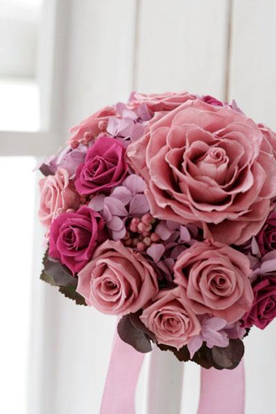 母の日 プレゼント 【ウェディングブーケ】ローズメリアのピンクパープルラウンドブーケ【送料無料】
