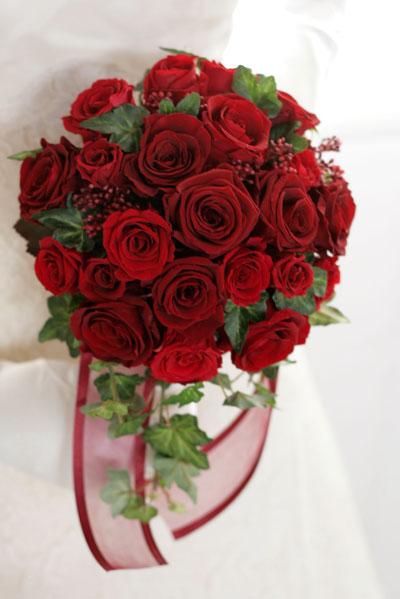 【ウェディングブーケ】深紅のバラのラウンドブーケ【送料無料】【母の日】