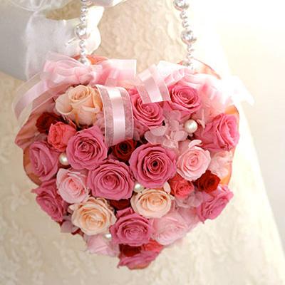 ピンクのハートのバッグブーケ【ブートニア付き】【母の日】
