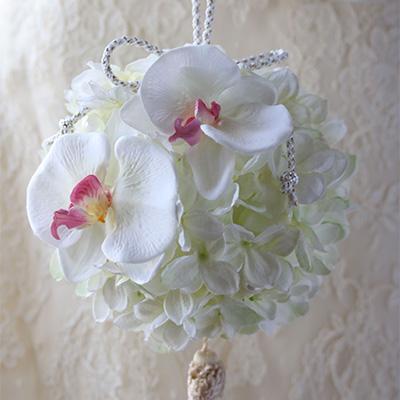 胡蝶蘭と紫陽花のボールブーケ(アーティフィシャルブーケ)【ウェディング】【送料無料】【母の日】
