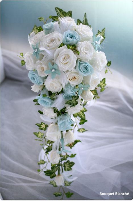 母の日 プレゼント ホワイト×ブルーキャスケードブーケ【ウェディングブーケ】【送料無料】
