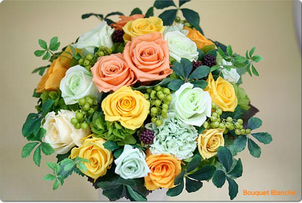 イエローオレンジ、グリーンのブーケ【ウェディングブーケ】【送料無料】【母の日】