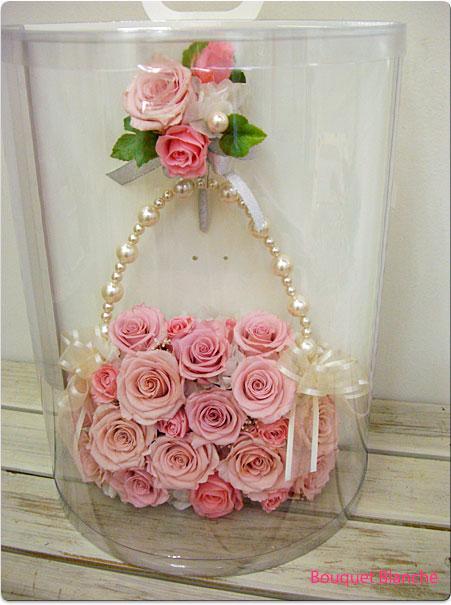 母の日 プレゼント スクエアバッグブーケ ピンク【ウェディングブーケ】【送料無料】