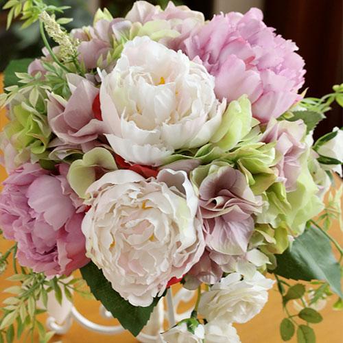 【ウェディングブーケ】薄紫と白のピオニーのラウンドブーケ【送料無料】【アーティフィシャルフラワー(造花)】【母の日】