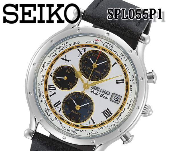 引出物 あす楽 送料無料 30周年限定モデル SEIKO セイコー 腕時計 ワールドタイム ラウンド メンズ クォーツ メーカー在庫限り品 おすすめ クロノグラフ プレゼント アナログ spl055p1 レザーベルト アラーム