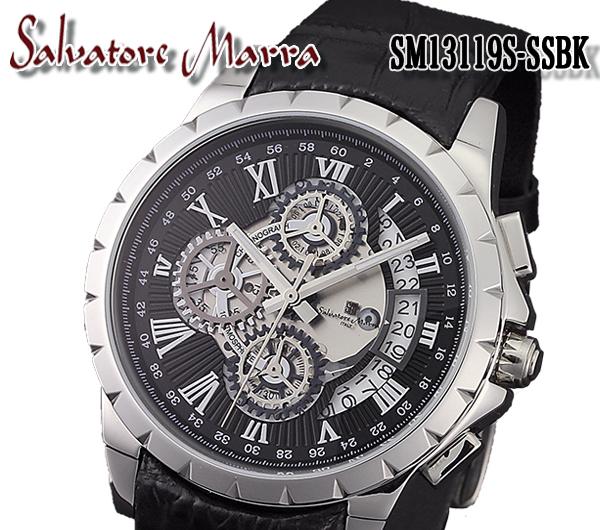 サルバトーレマーラ SALVATORE MARRA クオーツ メンズ 腕時計 SM13119S-SSBK メンズ ステンレス(ケース) レザー(ベルト) クオーツ 5気圧防水 クロノグラフ 日付カレンダー カラー:ブラック×シルバー(文字盤) ブラック(ベルト)