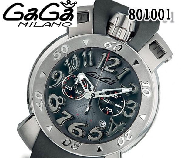 送料無料 新品 GaGa MILANO ガガミラノ 8010.01 48MM クロノグラフ メンズ 腕時計 クォーツ プッシュボタン ラバーベルト 人気 ブランド ウォッチ おすすめ