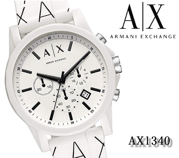 Analog Men Ax1340 Quartz Armani Rubber Exchange White Present Watch Ax Chronograph Emporio Clock 54Aq3LRj