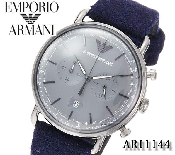 あす楽 送料無料 EMPORIO ARMANI 腕時計 エンポリオ アルマーニ 時計 メンズ AVIATOR アビエーター AR11144 [アナログ ブランド クオーツ ギフト クロノグラフ フェルト][プレゼント]