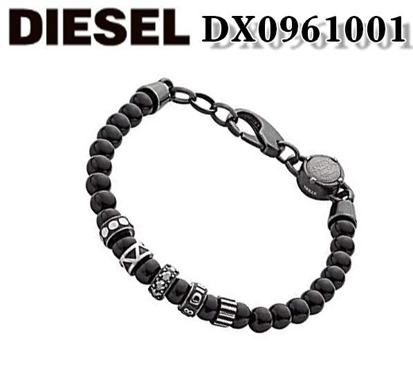 あす楽 新品 Diesel ディーゼル 在庫限り メンズ アクセサリー 数珠 BRACELET 再再販 ギフト プレゼント 箱付き ブラック ブレスレット キュービックジルコニア DX0961001