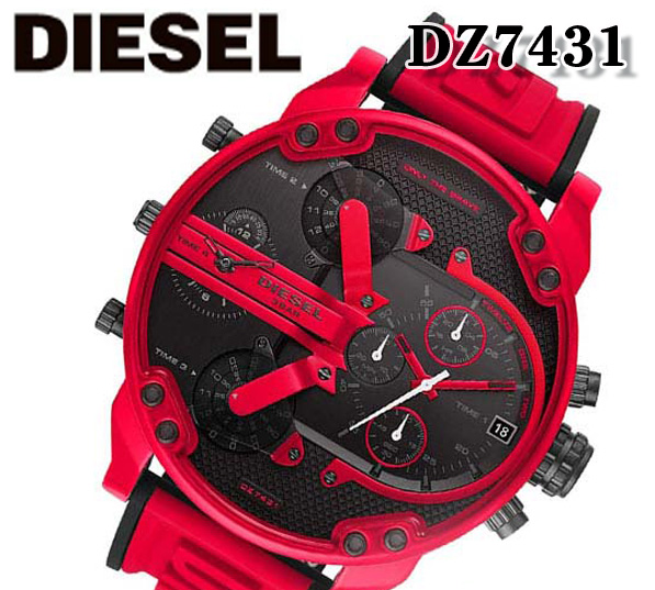あす楽対応 新品 送料無料 DIESEL ディーゼル dz7431 Mr Daddy 2.0 ミスターダディ メンズ 腕時計 アナログ クォーツ クロノグラフ レッド ブラック プレゼント ナイロン ベルト