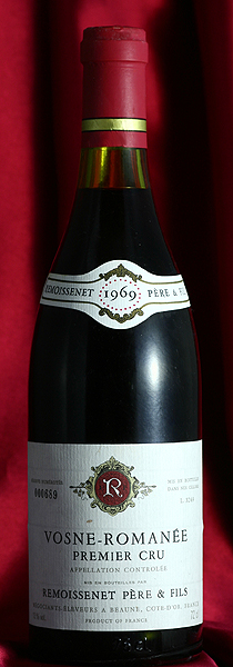 ヴォーヌ・ロマネ・プルミエ・クリュ[1969]Vosne Romanee Premier Cru 750mlルモワスネ Remoissenetワイン フランス ブルゴーニュ 赤