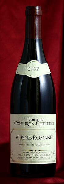 ヴォーヌ・ロマネ[2002]Vosne Romanee 750mlJ.コンフュロン・コトティドJ.Confuron Cotetidot