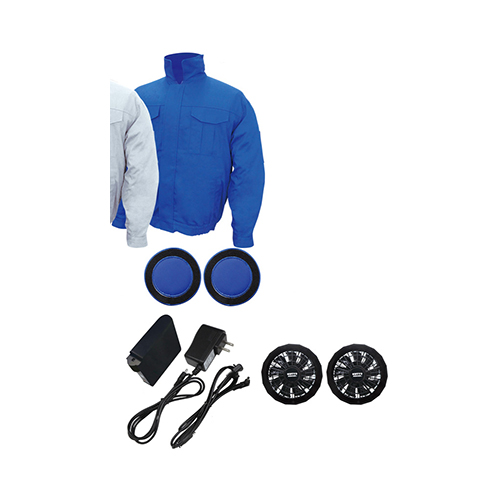 ★ ポイント10倍 ★ 綿100% 激安 空調エアコン服 色 ブルー シルバー ノーマル / フルセット バッテリー ファンAタイプ付き 人気空調服 [ブレ]