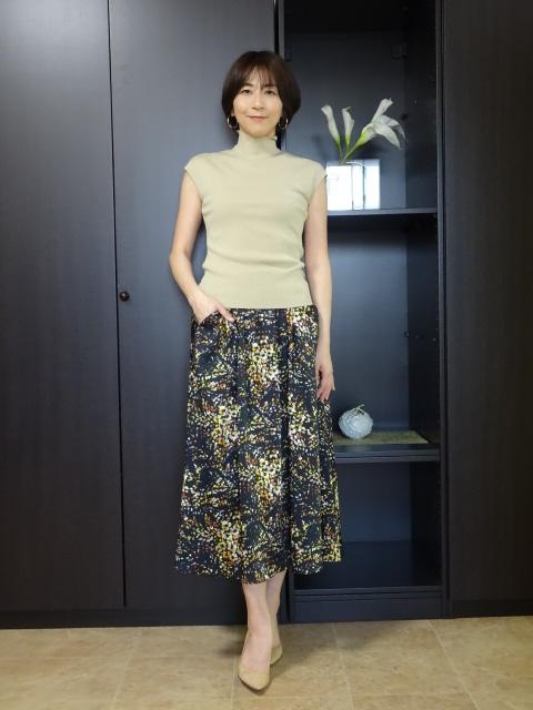 ☆ポリエステルプリントのギャザースカート☆ 流行のアイテム 2021年春夏新作 デュアルビュー VIEW スカート 激安通販 DUAL