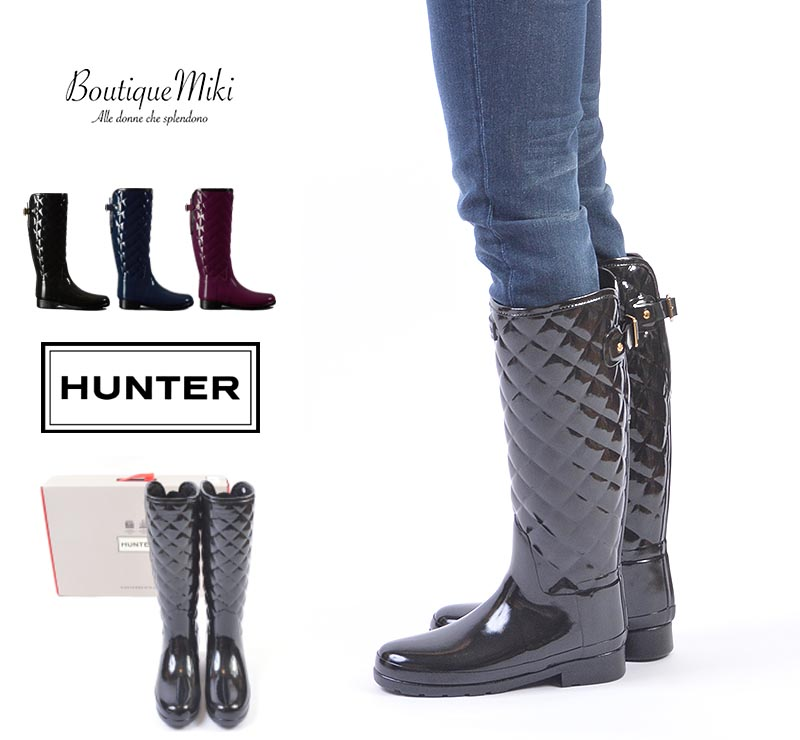 e7a963269 BOUTIQUE MIKI: HUNTER hunter REFINED GLOSS QUILT TALL re-find gross kilt  Thor [lady's / black, navy, Marti Ann red] rain boots | Quilting | Long  boots ...