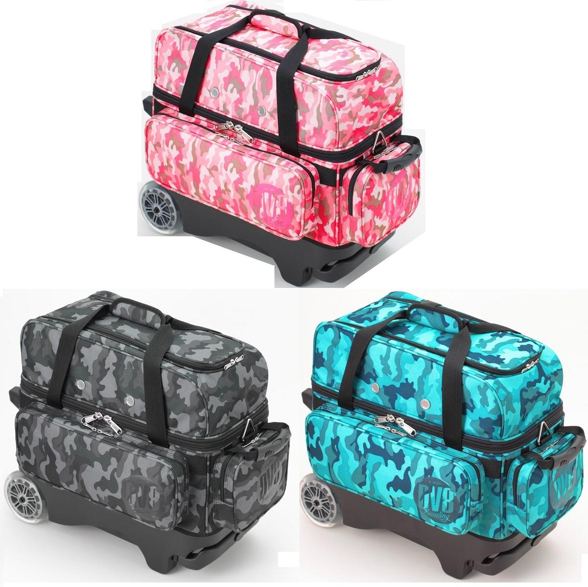 DV8 ボウリング バッグ 迷彩柄・ダブルローラー キャスター カート バッグ  全3色 【ボウリング用品】