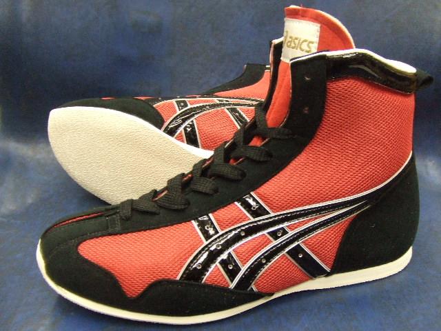 アシックスショートボクシングシューズ アメリカ屋オリジナルカラー赤x黒