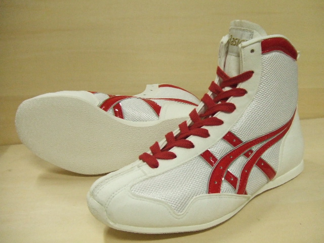 【受注生産お届けまで約40日】アシックスショートボクシングシューズアメリカ屋オリジナルカラー 白×赤