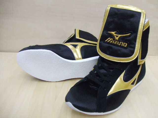 Amerikaya original color (black x black x gold line) Mizuno lapel type boxing shoes 3 with orchid bird logo original shoes bag containing