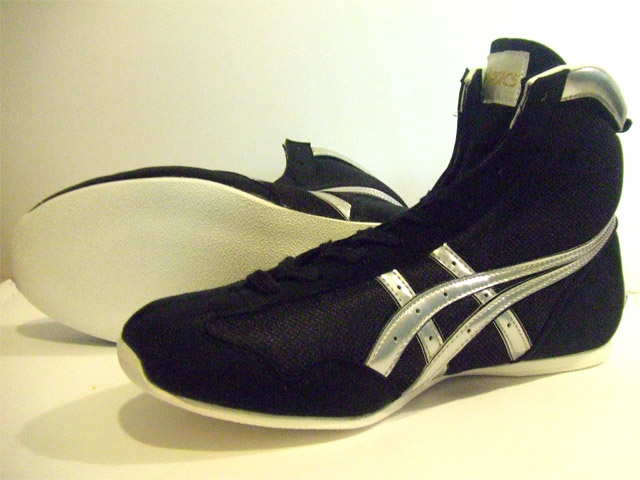 黒×シルバーふち黒 アシックスショートボクシングシューズアメリカ屋オリジナルカラー
