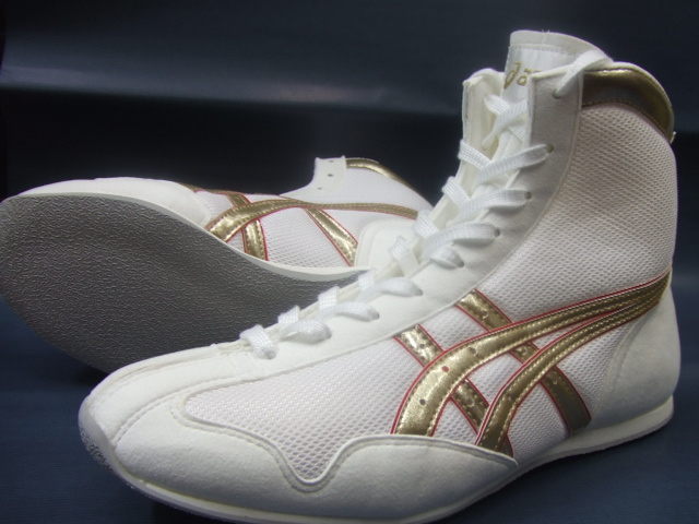 アシックスショートボクシングシューズアメリカ屋オリジナルカラー 白×ゴールドxふち赤