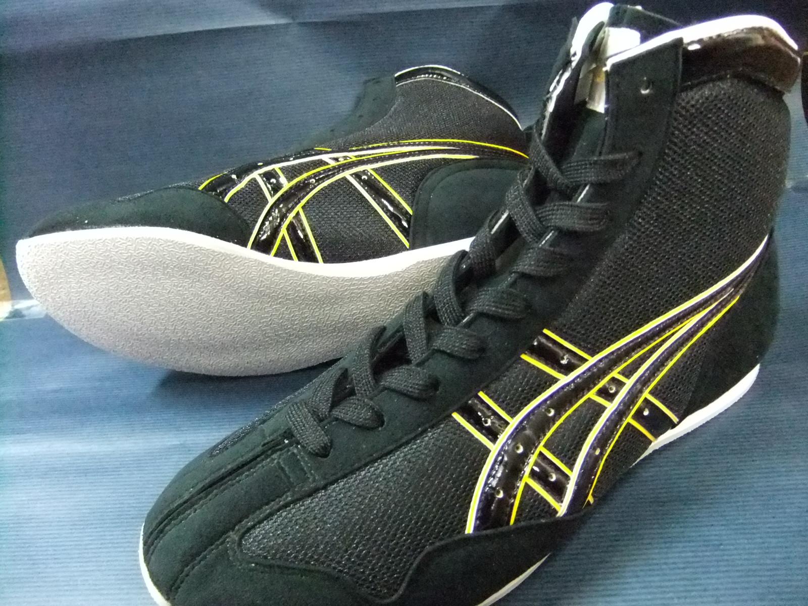 在庫のないものはメーカーで受注休止中 アシックスショートボクシングシューズアメリカ屋オリジナルカラー 黒×黒×黄