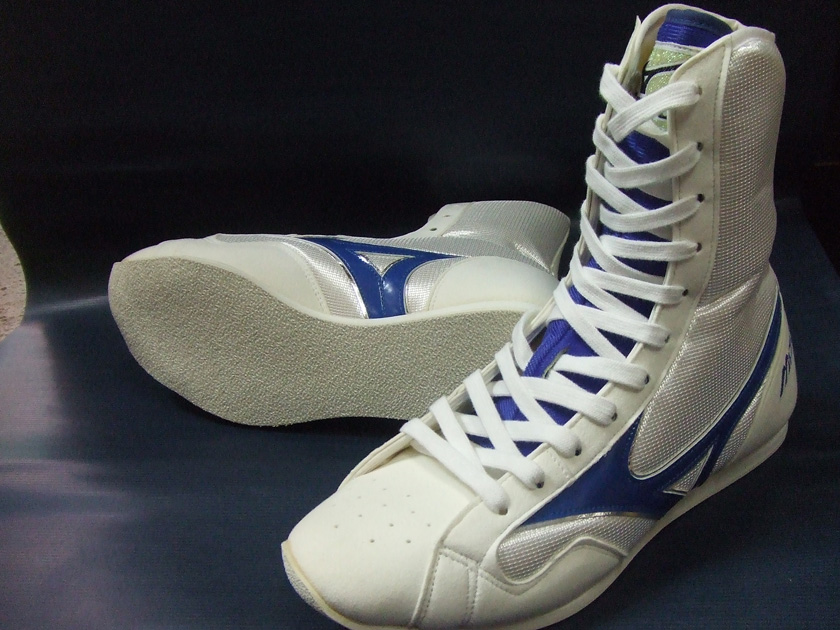 Mizuno boxing shoes (white X blue tiptoe white) (boxing article, ring shoes)